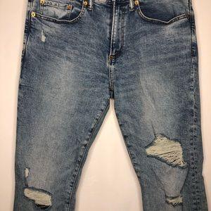 Men's Light Wash Gap Distressed Skinny Jeans 32x30